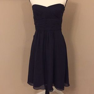 NWT Ann Taylor Navy strapless silk dress, Size 6
